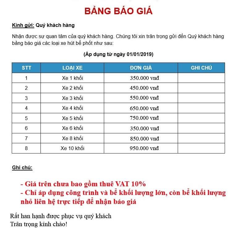 Giá hút bể phốt tại Hà Tĩnh là bao nhiêu tiền